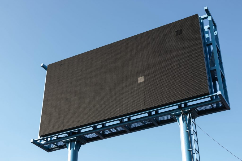 A digital billboard, blank